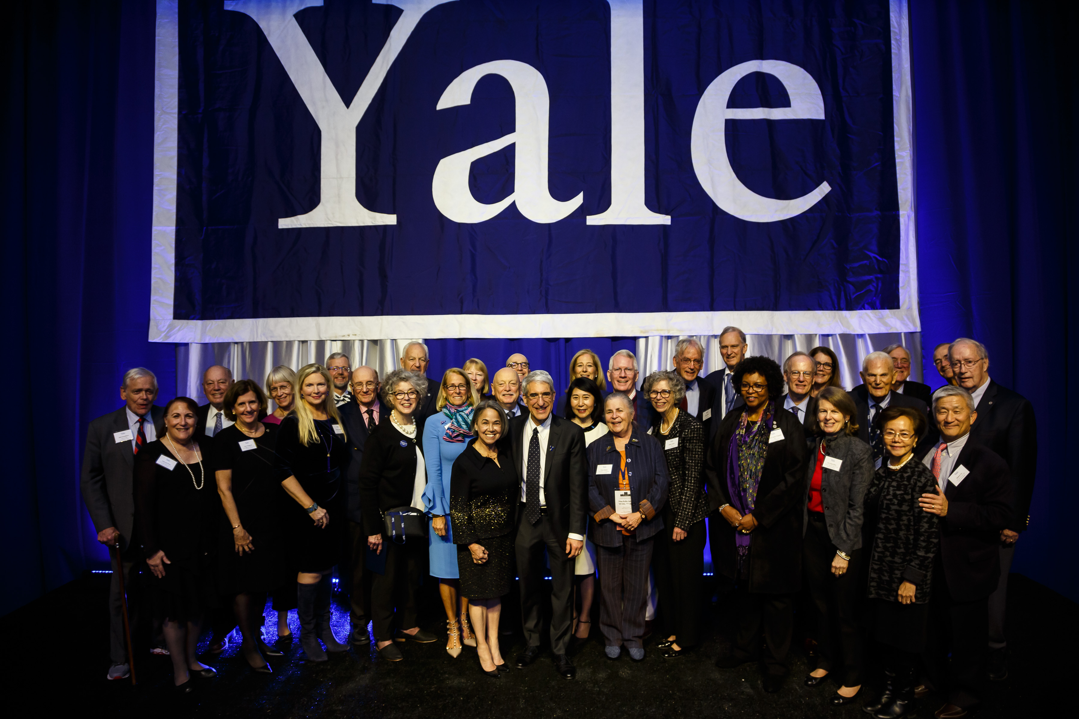 Current Yale medalists and previous recipients gather during the 2019 Assembly and Convocation.