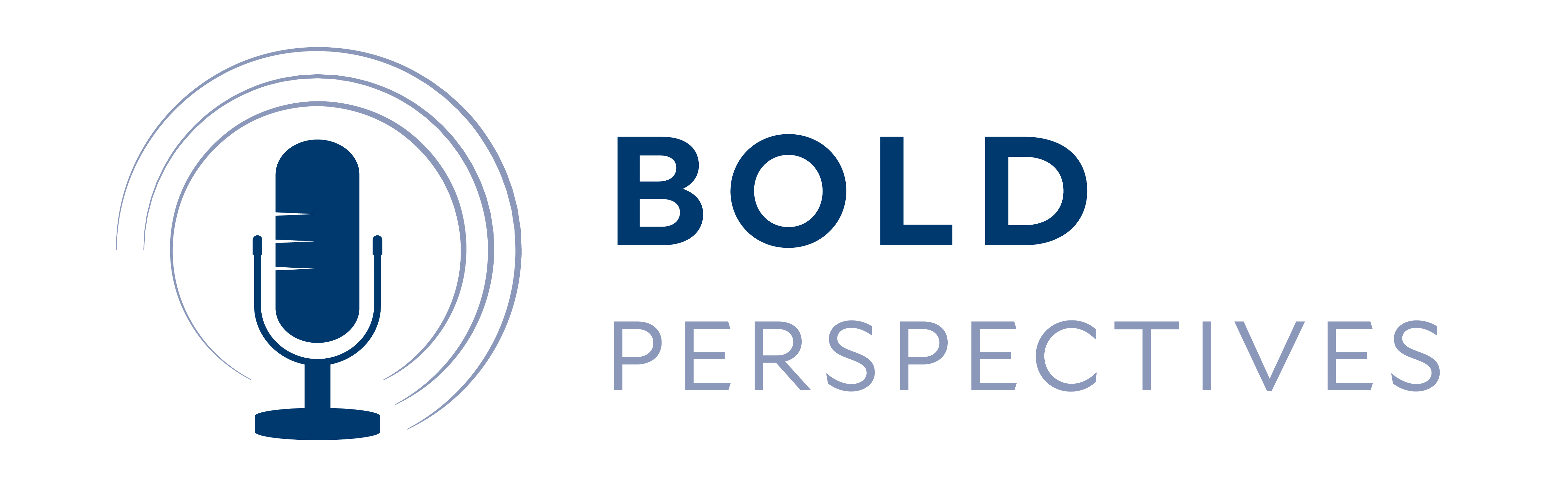 Bold Perspectives logo with a picture of a microphone