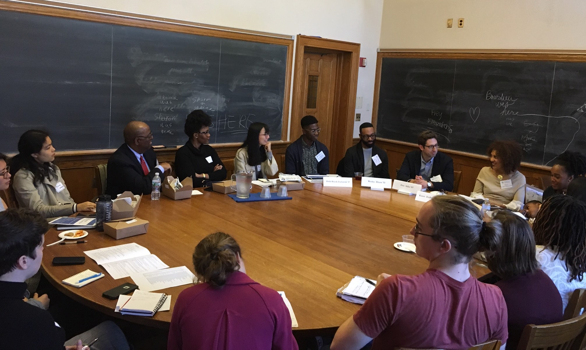 "Alumni and students hold a roundtable discussion during the Careers, Life, and Yale ""Changemakers"" event."