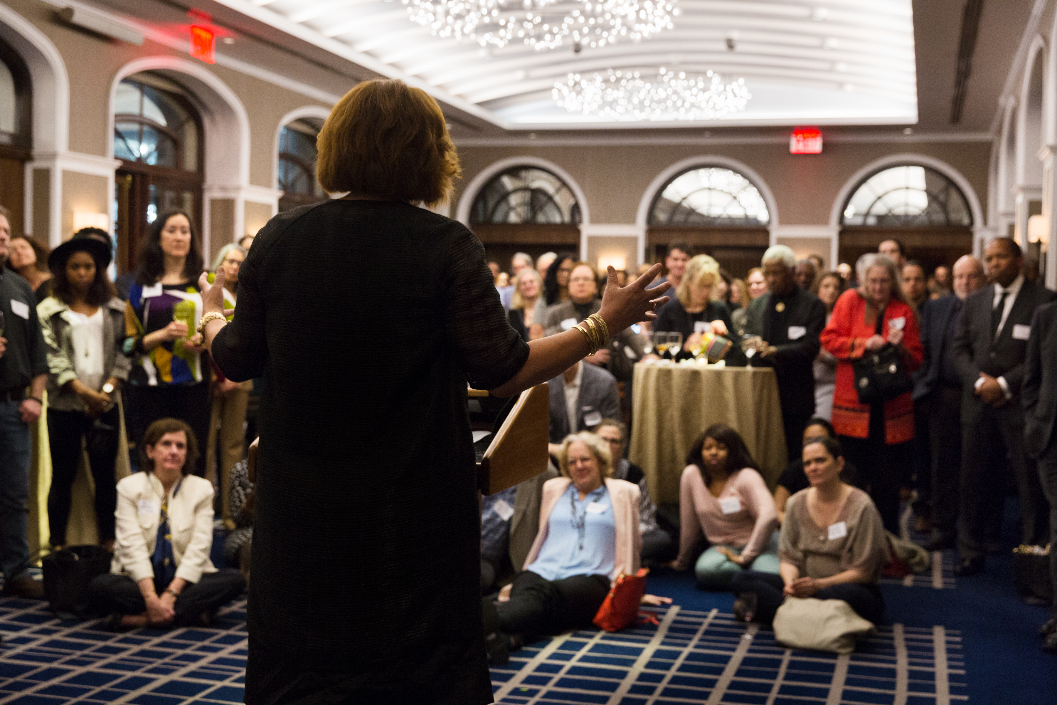 Elizabeth Alexander speaks to a group of alumni at the Yale Club in New York.