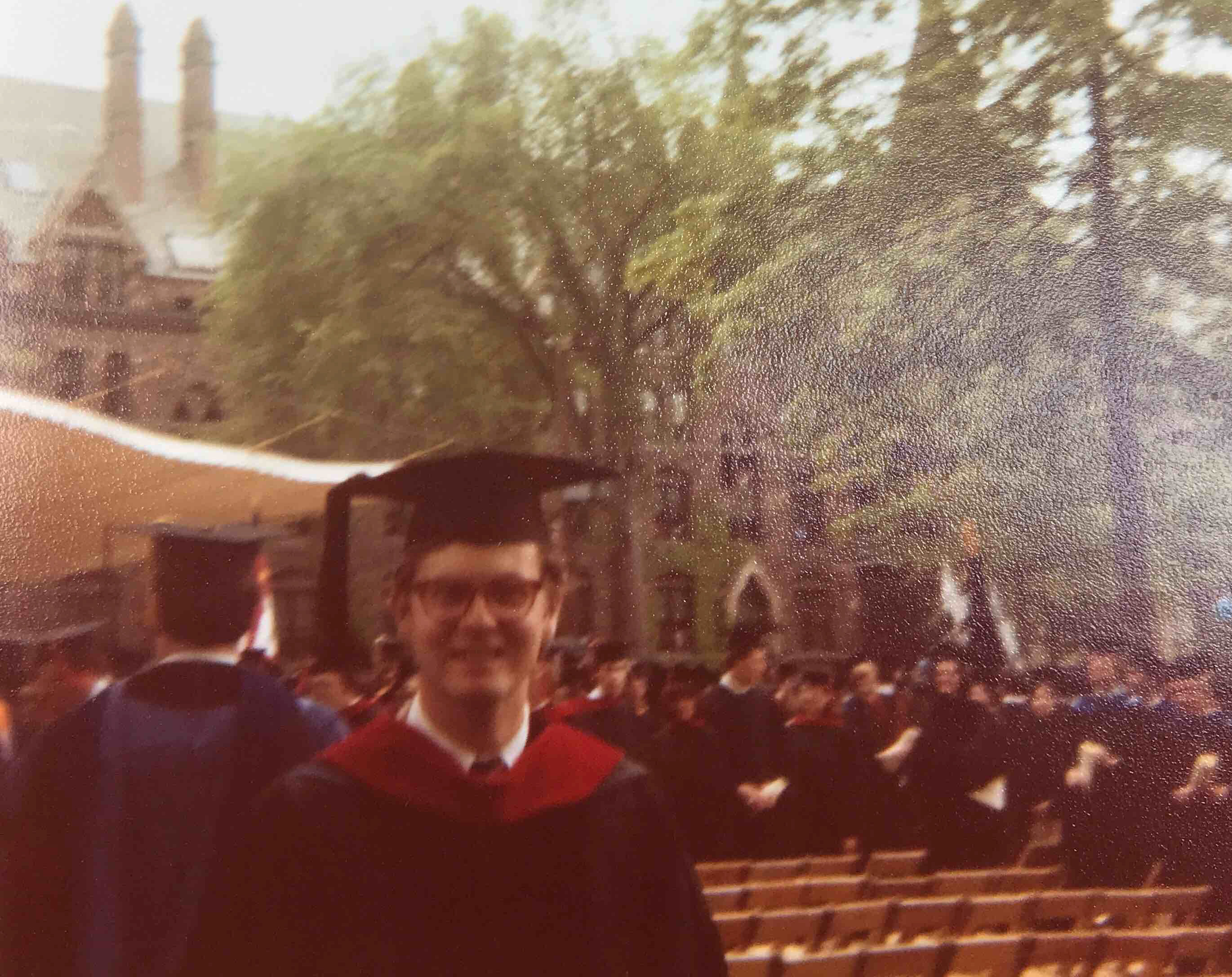 Gus Succop '79 MDiv at Commencement in 1979, with mortarboard..
