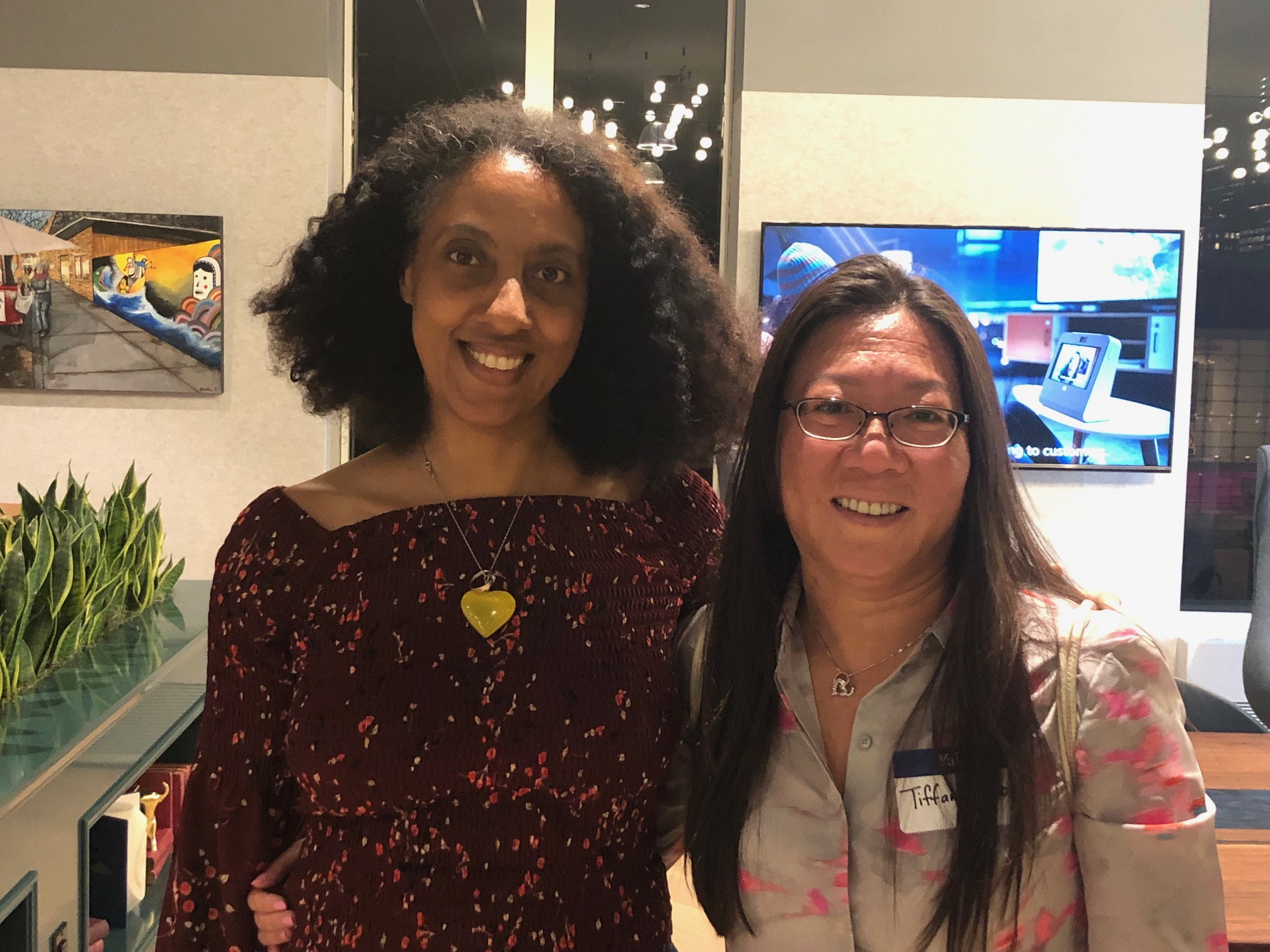 Genea Tafesse '98 and Tiffany Co '94, co-leaders of the Association of Asian American Yale Alumni (Chicago), connect at the event. Photo: Henry Kwan