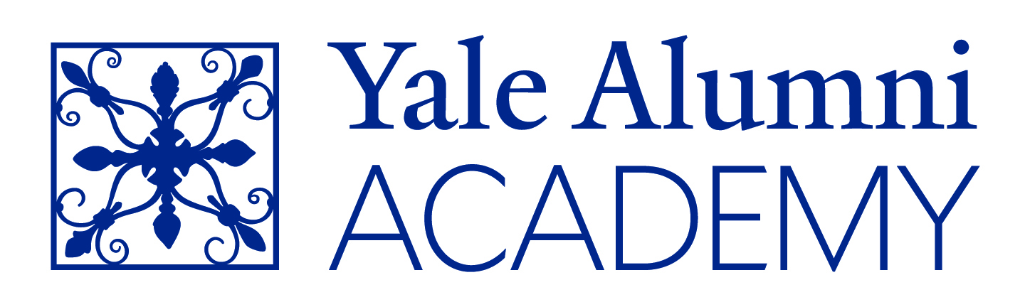 Picture of the words Yale Alumni Academy with a square blue box before it