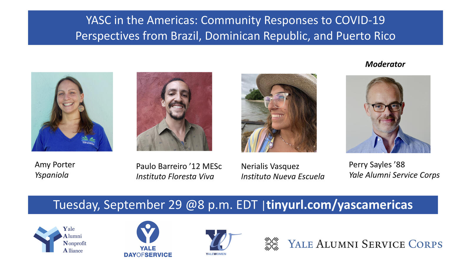 "Graphic for webinar, ""YASC in the Americas: Community Responses to COVID-19 - Perspectives from Brazil, Dominican Republic, and Puerto Rico"""