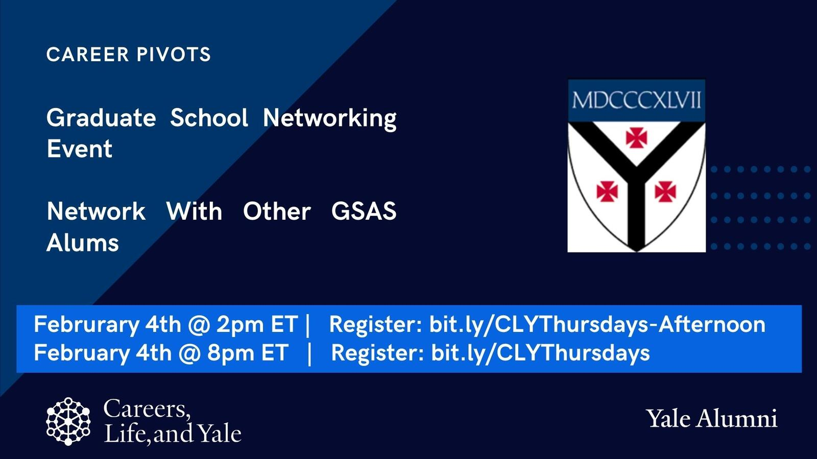 Careers, Life, & Yale: GSAA Evening Networking Event