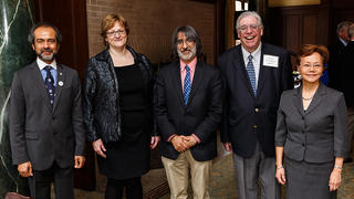 AYA Board of Governors Chair Rahul Prasad '84 M.S., '87 Ph.D.; honoree Professor Meg Urry; presenter Professor Akhil Reed Amar '80, '84 J.D.; honoree Professor Jay Gitlin '71, '74 Mus.M., '02 Ph.D;. AYA Executive Director Weili Cheng '77