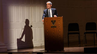 President Peter Salovey presents his academic strategy for the university at the 2018 Association of Yale Alumni Assembly & Yale Alumni Fund Convocation.