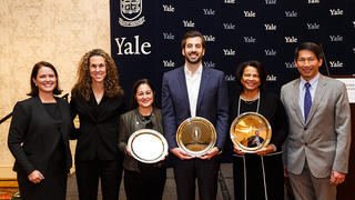 From left: Jocelyn Kane, managing director of the Yale Alumni Fund; Marla Grossman '90, vice chairman; award winners Rebecca Vitas Schamis '00 M.B.A., Thomas Ginakakis '09, and Evangeline Wyche Tross '78; and Michael Tom '83 M.D., chairman.