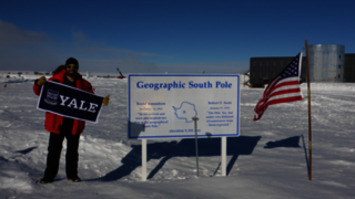 Faustin Carter PhD '15 at the South Pole