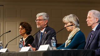 Deans Gendler, Vermund, Cooley, and Alpern held a panel discussion during the opening day of the 2018 YAA Assembly and Alumni Fund Convocation.