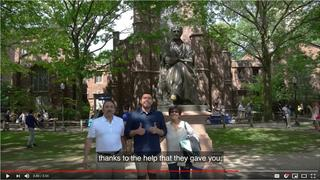 Fernando Rojas '19 and his parents on Old Campus