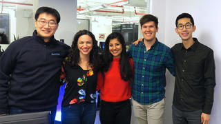 Left to right: Chen Fu '18, data scientist; Natania Gazek '17 talent lead; Anusha Raturi '17), partnerships lead; Will Sealy '17, co-founder and CEO; and Yale Law and SOM alumnus Paul Joo '18), co-founder and COO