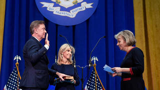 Ned Lamont '80 MBA takes office as the governor of Connecticut. Photo credit: AP Photo/Jessica Hill, Pool.