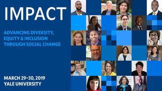 Graphic promoting the Impact conference on diversity, equity, and inclusion.