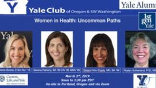 "Flyer for ""Yale Alumni A2A: Women in Health: Uncommon Paths"""
