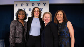 YaleWomen Lifetime Achievement award recipients (L to R): Anita Hill '80 JD, Catherine Lhamon '96 JD, Ann Olivarius '77, '86 JD/MBA, and moderator Joanne Lipman '83. (Credit: Erin Scott)
