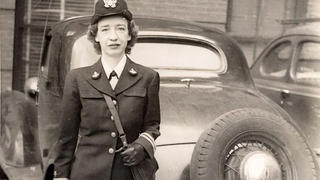 Hopper standing behind a car parked near Cruft Lab, Harvard University, ca. 1945–1947, where she worked on the Mark I computer. (Photo courtesy of Grace Murray Hopper Collection, Archives Center, National Museum of American History, Smithsonian Institution)