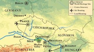 Map of the trip through the Danube River Valley