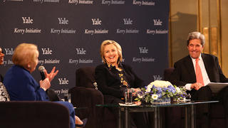 "Madeleine Albright talks to Hillary Clinton '73 JD and John Kerry '66 during the Kerry Initiative Conference, ""Challenges to Democracy at Home and Abroad."""