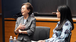 Weili Cheng '77 in conversation at the Yale School of Management