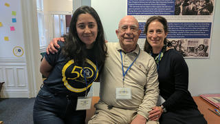 Left to right: Emily Almendarez '20, former Yale professor Rodolfo Alvarez, and Anica Alvarez Nishio '88 at La Casa. Photo credit: Brita Belli