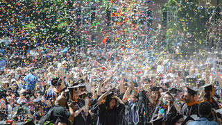 The Class of 2019 celebrates on Old Campus during Commencement.