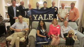The attendees at the Yale Veterans Association alumni dinner in Houston. Photo: Henry Kwan