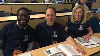 The Yale Club of Hartford's Frederick Sowah '06, Eric Fleischmann '83, and Katherine McCormack '81 MPH at the Connecticut Invention Convention.