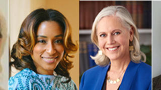 2019 Yale Divinity School Alumni Award winners Kristin Foster '77 MDiv, Neichelle Guidry '10 MDiv, Serene Jones '85 MDiv, '91 PhD, and Kathy A. Turner '69 MDiv