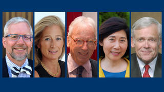 2019 Yale Medal recipients Scott R. Williamson '80, Nancy Marx Better '84, John Walsh '61, Caroline Hsiao Van '79, and William H. Donaldson '53.
