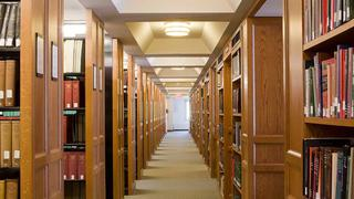 View of academic library stacks