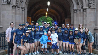 A group of students gathered on Yale campus on move-in day.