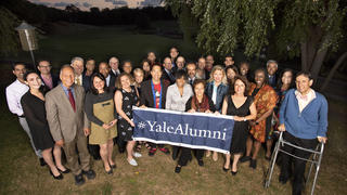 The members of the 2019-20 Yale Alumni Association Board of Governors gather during their September 2019 meeting.