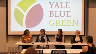 "The panelists gather at the recent event in Chicago, ""Environmental & Sustainability Initiatives in Chicago: Perspectives from Business, Tech, Art and Community."""
