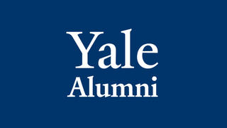 Yale Alumni Logo - White on Blue