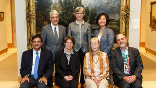 The four alumni of the Graduate School of Arts & Sciences who were honored with Wilbur Cross Medals are pictured here at the award ceremony on Oct. 7. They are (seated, left to right) Urgit Ravindra Patel, Susan Kidwell, Ruth Garret Millikan, and Douglas Green. Pictured with the medalists are (standing, left to right) Peter Salovey, university president; Lynn Cooley, dean of the Graduate School of Arts and Sciences; and Anna Barry, chair of the Graduate School Alumni Association. Photo credit: Tony Fiorini
