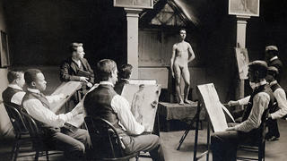 Students in a painting classroom at the Yale School of Fine Arts, circa 1907