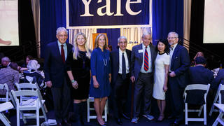 The 2019 Yale medalists at the Yale Medal dinner at the Lanman Center