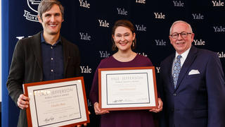 The 2019 Yale-Jefferson Award recipients with their certificates