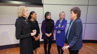 From left: Linda Mason '80 MBA; Professor Heather Tookes; Jane Mendillo '84 MBA; Sharon Oster, the Frederic D. Wolfe Professor Emerita of Management and Entrepreneurship; and Sandra Urie '85 MBA