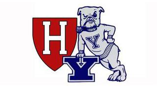 Harvard & Yale logos with Handsome Dan dog cartoon