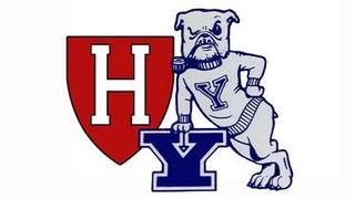 Yale Bulldog and Harvard shield