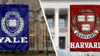 Image of Yale and Harvard banners
