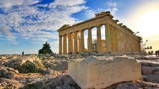 Ancient Parthenon momument against blue sky in Greece