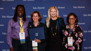 Members of 1stGenYale pose with YAA chair Nancy Stratford during the 2019 awards ceremony held in conjunction with Assembly and Convocation.