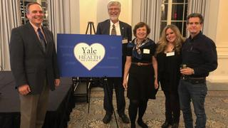 Yale leaders at the Yale Alumni Health Network debut, L to R: Deputy Dean Vincent Wilczynski (Yale School of Engineering and Applied Science), Dean Sten Vermund (Yale School of Public Health), Dr. Christine Walsh '73 MD (YAHN Steering Committee), Dr. Jamie Wells '96, and Dean Kamen.