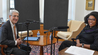 President Peter Salovey with Professor Crystal Feimster recording the first episode of YaleTalk