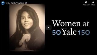 Screen capture of the video feature for Vera Wells '71 interview
