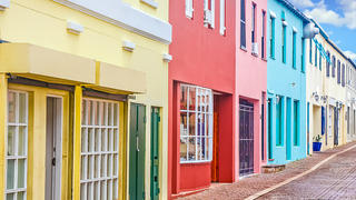 Colorful row houses on a street