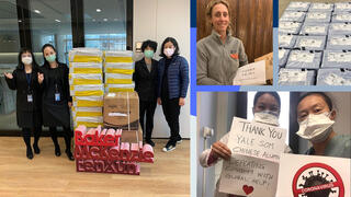 Supplies provided by alumni in Asia have gone to help doctors and hospitals in New Haven and New York.